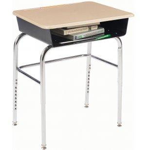 Deluxe Adj. Height Open Front School Desk - HP Top, U Brace