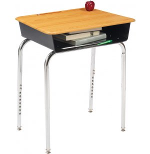 Deluxe Adj. Height Open Front School Desk - WoodStone Top