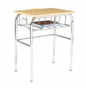 Adj. Height Open View School Desk - Hard Plastic, U Brace