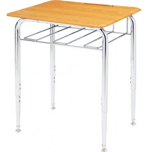 Open View Adjustable Ht School Desk w/WoodStone Top Adj Ht
