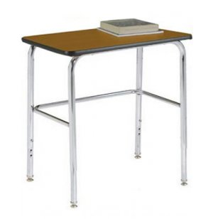Adjustable Height Basic School Desk - Laminate Top, U Brace