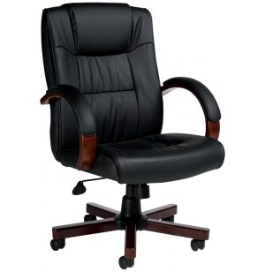 Luxhide Executive Office Chair with Wood Accents