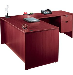 Laminate L-Shaped Office Desk w/ 2 Pedestals