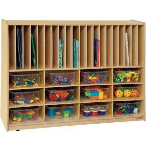 Portfolio and Cubby Storage w/ 12 Clear Cubby Bins