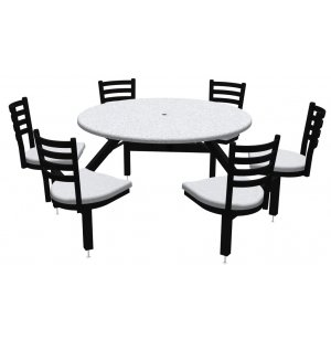Round Outdoor Table With Cluster Seating 6 Chairs Phm