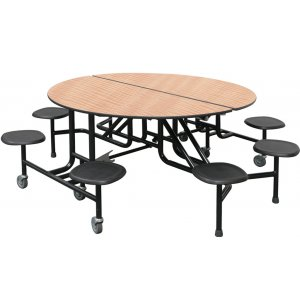 Easy-Fold Round Cafeteria Table - 8 Stools
