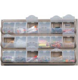 Wall-Mounted Classroom Art Supply Storage - 18 Panel Bins