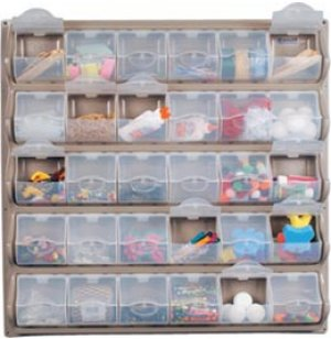 Wall-Mounted Classroom Art Supply Storage - 30 Panel Bins