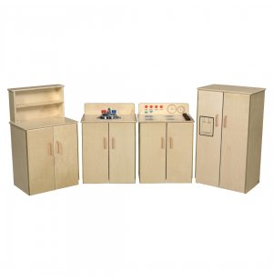 WD Wooden Play Kitchen Set with Tip-Not Doors- 4 Appliances