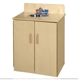 WD Wooden Play Kitchen Sink with Tip-Not Doors