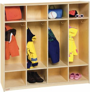 4 Section Wood Locker with Flush Front