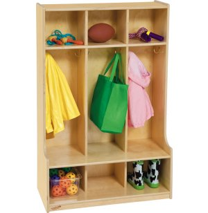 3 Section Wood Locker with Offset Edge