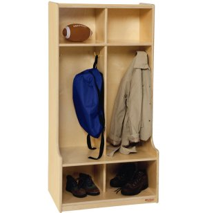 Wood Preschool Locker - 2-Section, Offset Edge
