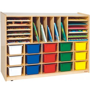 Multi Purpose Storage with 15 Colored Cubby Bins