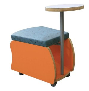 Rojon Mobile Soft Seating Storage Stool with Tablet Arm