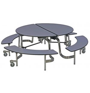 Easy-Fold Mobile Round Cafeteria Table - Chrome