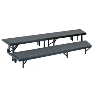 Standing Choir Riser Set - Tapered, Carpeted, 2-Level