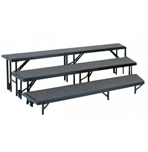 Standing Choir Riser Set - Tapered, Carpeted, 3-Level