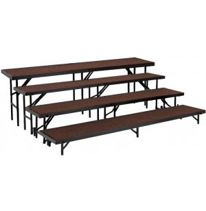 Standing Choir Riser Set - Carpeted, 4-Level