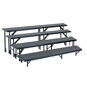 Standing Choir Riser Set - Tapered, Carpeted, 4-Level