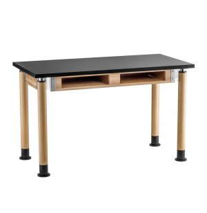 Adjustable Lab Table with Chem-Res Top, Book Boxes