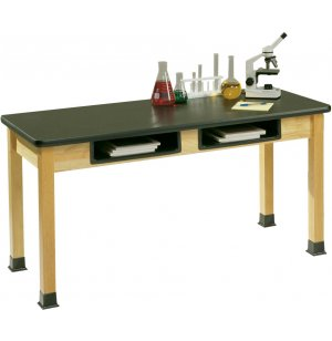 Science Lab Table with Epoxy Resin Top and Book Boxes