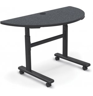 Economy Adj-Height Sit/Stand Flipper Table, Half Round