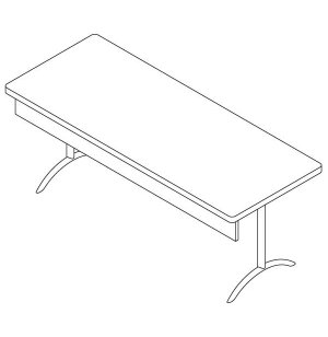 Folding Smart Rectangular Table with Panel