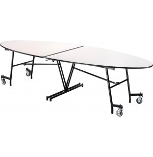Mobile Oval Cafeteria Table - MDF, ProtectEdge, Chrome