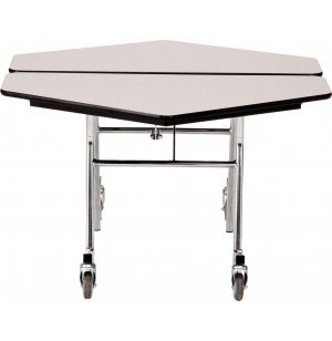 NPS Folding Hexagon Cafeteria Table - Chrome Frame