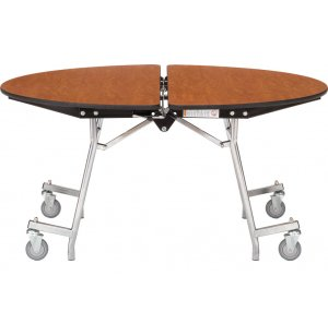 Round Mobile Cafeteria Table - Chrome
