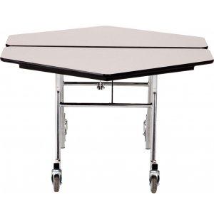 Hexagon Cafeteria Table - Plywood, ProtectEdge, Chrome