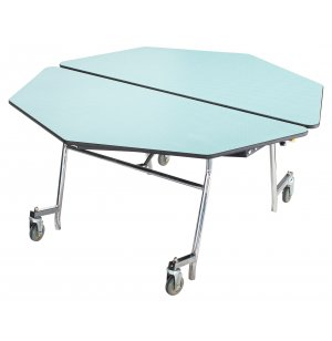 Octagon Cafeteria Table-Plywood, ProtectEdg, Chrome
