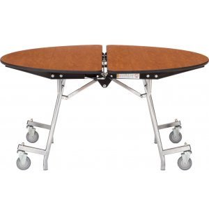 Round Mobile Cafeteria Table - Plywood, Chrome