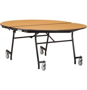 NPS Mobile Folding Oval Cafeteria Table - Chrome