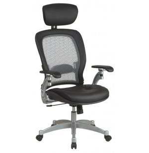 Leather Air-Grid Office Chair w/Headrest
