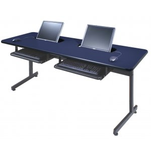 Flat Panel Semi Recessed Comp Table with T Leg
