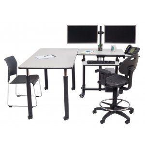 Deluxe Sit Stand Teachers Desk