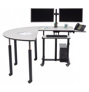 NPS Deluxe Sit Stand Teacher's Desk with Semi-Circle Table