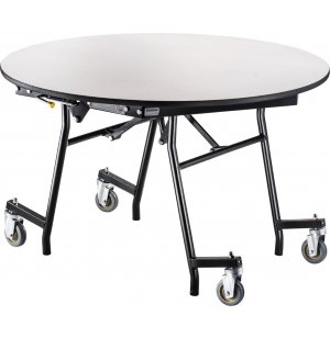 Easy-Fold Cafeteria Table-Chrome,Round, ProtectEdge, MDF