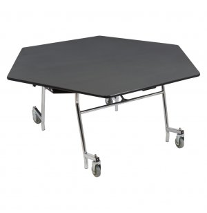 Easy-Fold Cafeteria Table - Chrome, MDF, ProtectEdge, Hexagon