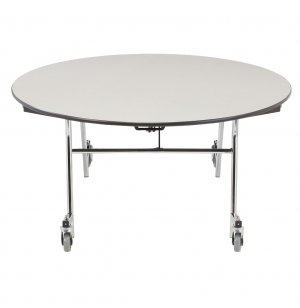 Easy-Fold Cafeteria Table - Chrome Frame, Plywood, Round