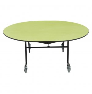 Easy-Fold Cafeteria Table- Chrome, Plywood, ProtectEdg, Oval