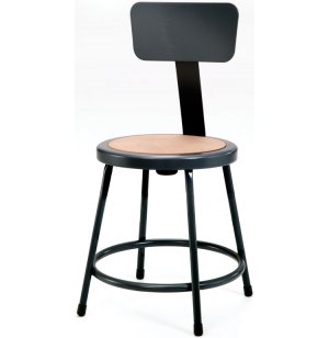 Metal Lab Stool with Backrest, Black Frame