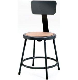 NPS Metal Lab Stool with Backrest, Black Frame