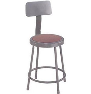 Metal Lab Stool with Backrest