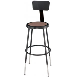 NPS Adj. Metal Lab Stool with Backrest, Black Frame
