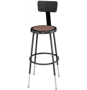 Adj. Metal Lab Stool with Backrest, Black Frame