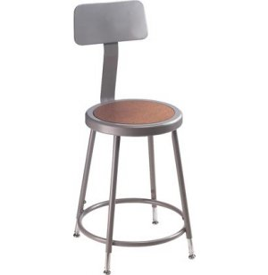 Adjustable Metal Lab Stool with Backrest