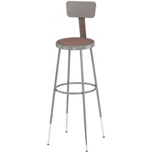 NPS Adjustable Metal Lab Stool with Backrest
